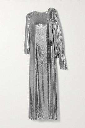 BERNADETTE Richard Draped Sequined Jersey Gown - Silver