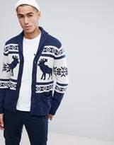 Abercrombie & Fitch Retro Moose Fairisle Pattern Shawl Cardigan in Navy/Cream