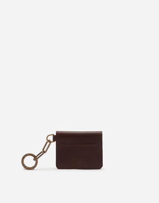Dolce & Gabbana Calfskin Card Holder With Ring And Heat-Stamped Logo