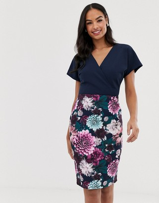 Paper Dolls short sleeve color block top and printed pencil skirt dress-Multi