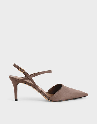 Charles & Keith Textured Ankle Strap Pumps