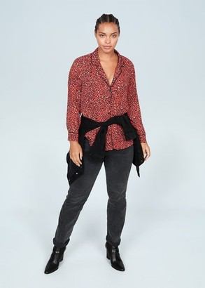 MANGO Violeta BY Leopard print shirt coral red - 10 - Plus sizes