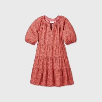 Universal Thread Women's Floral Print Puff Sleeve Tiered Babydoll Dress - Universal ThreadTM