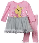 Disney Disney's Winnie the Pooh Baby Girl Glitter Skirt Dress & Leggings Set
