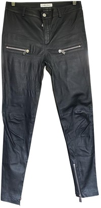 Anine Bing Black Leather Trousers for Women