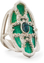 Armenta New World Teal Mosaic & Opal Ring with Diamonds