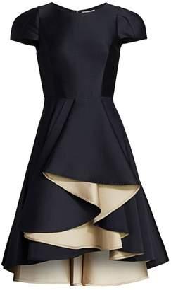 Halston Two-Tone Frill Dress