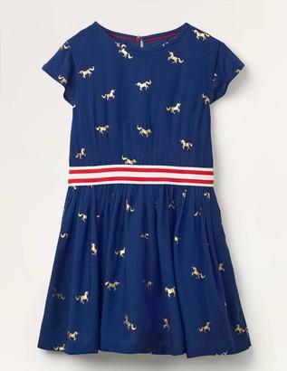 Foil Printed Waistband Dress
