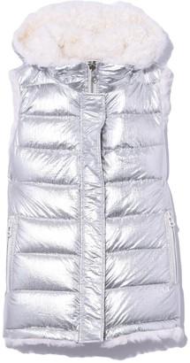 Yves Salomon Kalgan Reversible Vest in Silver/Ivoire