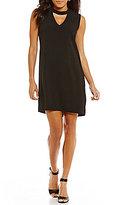 Bobeau Solid Cutout Mock Neck Sleeveless Crepe Dress