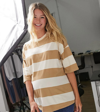 ASOS DESIGN Maternity oversized t-shirt in chunky washed beige stripe