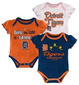 MLB Detroit Tigers Girls 3pk Bodysuit Crawlers
