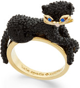 Kate Spade Gold-Tone Jet Pavé Three-Dimensional Cat Statement Ring