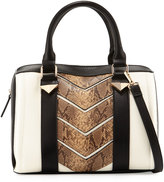 Neiman Marcus Faux-Leather Snake-Embossed Duffle Bag, Bone/Black