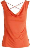 Vince Camuto Womens Cowl Neck Lace-Up Ballet Top Orange XL