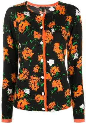 Escada Floral Intarsia Slim-Fit Cardigan