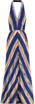 Missoni Crochet-knit Halterneck Maxi Dress - Indigo