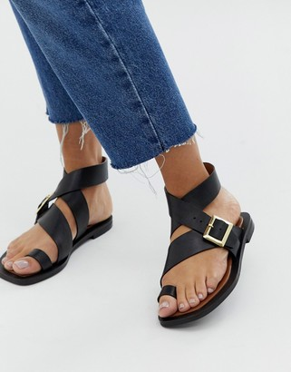 Office Serenity black leather flat toe loop sandals