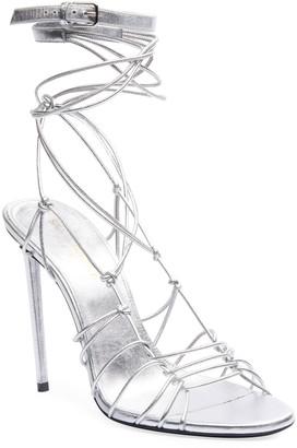 Saint Laurent Robin Metallic Strappy Sandals