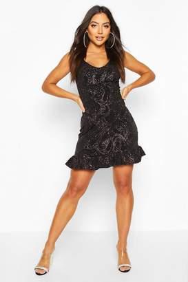 boohoo Frill Hem Mini Dress In Paisley Glitter Print
