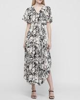 Express Metallic Floral Smocked Waist Maxi Dress