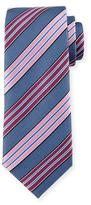 Ermenegildo Zegna Bold-Striped Textured Silk Tie, Blue