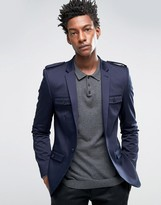 Asos Super Skinny Cotton Jacket with Military Styling in Navy