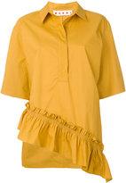 Marni asymmetric ruffle shirt - women - Cotton - 38