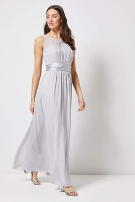 Dorothy Perkins Womens Pleated Chiffon Maxi Dress With Satin Bow - Grey