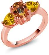 Gem Stone King 2.42 Ct Oval Ecstasy Mystic Topaz and Yellow Citrine 18k Rose Gold Three Stone Ring