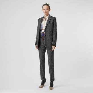 Burberry Wool Cashmere Tweed Cropped Tailored Trousers