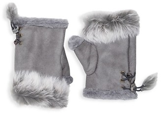 Adrienne Landau Dyed Rabbit Fur-Trim Fingerless Gloves