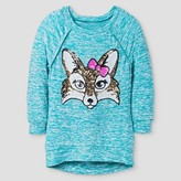 Girls' Miss Chievous Sequin Fox 3/4 Sleeve Tunic - Teal
