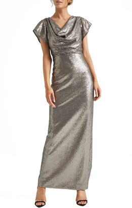 Halston Cowl Neck Sequin Column Gown