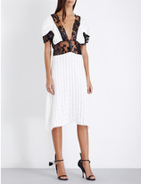 Rodarte Striped silk-blend and lace dress