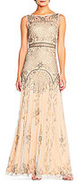 Adrianna Papell Beaded Illusion Mesh Gown