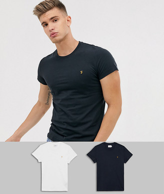 Farah Farris twin pack t-shirts in white/black