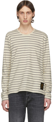 Tiger of Sweden Off-White and Black Striped Salk Long Sleeve T-Shirt