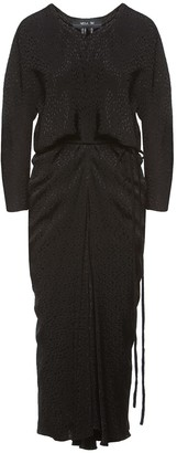 Nissa Viscose Midi Dress With Waist Cord