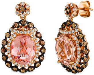 LeVian Le Vian 14K Rose Gold 6.22 Ct. Tw. Diamond & Peach Morganite Earrings
