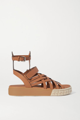 Prada Leather Platform Sandals - Tan