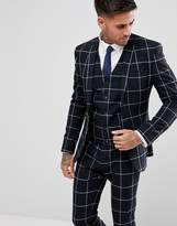 Asos Super Skinny Suit Jacket In Navy With White Windowpane Check