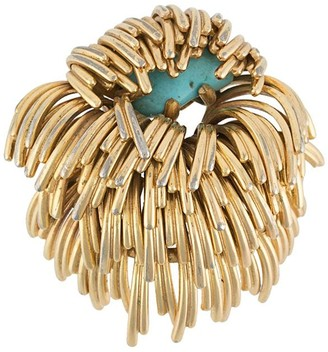 Christian Dior 1960s Pre-Owned Turquoise Stone-Embellished Brooch
