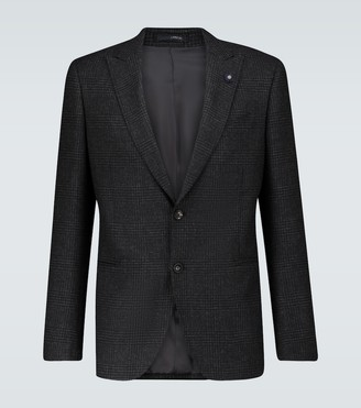 Lardini Single-breasted checked wool blazer