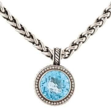 David Yurman Topaz & Diamond Cerise Pendant Necklace