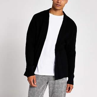 River Island Black knitted foldback collar cardigan