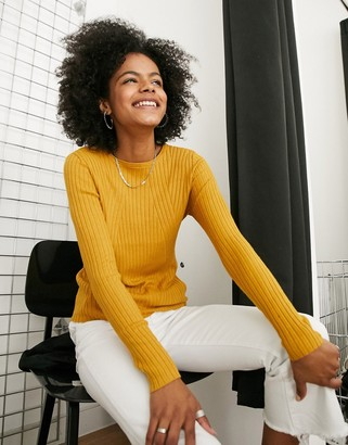 Only long-sleeved ribbed jumper in mustard