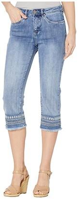 FDJ French Dressing Jeans Statement Denim Lower Hem Embroidery Olivia Capris in Moody Blue (Moody Blue) Women's Jeans