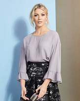 Fashion World Whisper Grey Bell Sleeve Shell Top