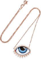 Lito Tu Es Partout 14-karat Rose Gold Enamel Necklace